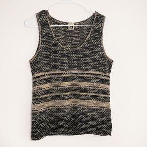 M BY MISSONI Brown/Black Knit Sleeveless Tank Top